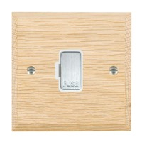 Picture of 1 Gang 13A Fuse Only / Satin Chrome / Woods Light Oak Chamfered Edge with White Surround Inserts