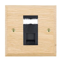 Picture of 1 Gang RJ45 CAT 5E Outlet Unshielded / Black Plastic / Woods Light Oak Chamfered Edge with Black Surround Inserts