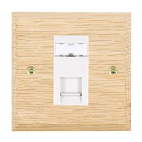 Picture of 1 Gang RJ45 CAT SE Outlet Unshielded / White Plastics / Woods Light Oak Chamfered Edge with White Surround Inserts