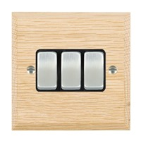 Picture of 3 Gang 10AX 2 Way Rocker / Satin Chrome / Woods Light Oak Chamfered Edge with Black Surround Inserts