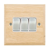 Picture of 3 Gang 10AX 2 Way Rocker / Satin Chrome / Woods Light Oak Chamfered Edge with White Surround Inserts