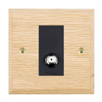 Picture of 1 Gang Isolated Satellite / Black Plastic / Woods Light Oak Chamfered Edge with Black Surround Inserts
