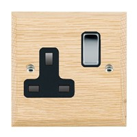 Picture of 1 Gang 13A Double Pole Switched Socket / Bright Chrome / Woods Light Oak Chamfered Edge with Black Surround Inserts