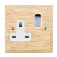 Picture of 1 Gang 13A Double Pole Switched Socket / Bright Chrome / Woods Light Oak Chamfered Edge with White Surround Inserts