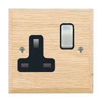Picture of 1 Gang 13A Double Pole Switched Socket / Satin Chrome / Woods Light Oak Chamfered Edge with Black Surround Inserts