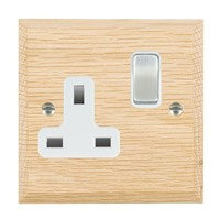 Picture of 1 Gang 13A Double Pole Switched Socket / Satin Chrome / Woods Light Oak Chamfered Edge with White Surround Inserts