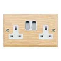 Picture of 2 Gang 13A Double Pole Switched Socket / Bright Chrome / Woods Light Oak Chamfered Edge with White Surround Inserts