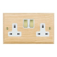 Picture of 2 Gang 13A Double Pole Switched Socket / Polished Brass / Woods Light Oak Chamfered Edge with White Surround Inserts