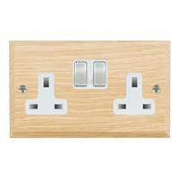 Picture of 2 Gang 13A Double Pole Switched Socket / Satin Chrome / Woods Light Oak Chamfered Edge with White Surround Inserts