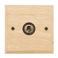 Picture of 1 Gang 20AX 2 Way Toggle / Antique Brass / Woods Light Oak Chamfered Edge with White Surround Inserts