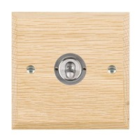 Picture of 1 Gang 20AX 2 Way Toggle / Satin Chrome / Woods Light Oak Chamfered Edge with White Surround Inserts