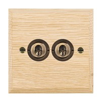 Picture of 2 Gang 20AX 2 Way Toggle / Antique Brass / Woods Light Oak Chamfered Edge with White Surround Inserts