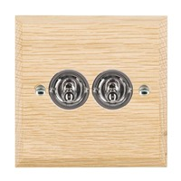 Picture of 2 Gang 20AX 2 Way Toggle / Bright Chrome / Woods Light Oak Chamfered Edge with White Surround Inserts