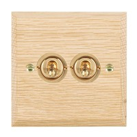 Picture of 2 Gang 20AX 2 Way Toggle / Polished Brass / Woods Light Oak Chamfered Edge with White Surround Inserts
