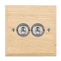 Picture of 2 Gang 20AX 2 Way Toggle / Satin Chrome / Woods Light Oak Chamfered Edge with White Surround Inserts