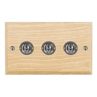 Picture of 3 Gang 20AX 2 Way Toggle / Bright Chrome / Woods Light Oak Chamfered Edge with White Surround Inserts