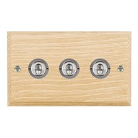 Picture of 3 Gang 20AX 2 Way Toggle / Satin Chrome / Woods Light Oak Chamfered Edge with White Surround Inserts