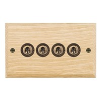 Picture of 4 Gang 20AX 2 Way Toggle / Antique Brass / Woods Light Oak Chamfered Edge with White Surround Inserts