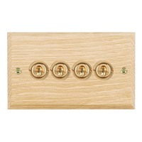 Picture of 4 Gang 20AX 2 Way Toggle / Polished Brass / Woods Light Oak Chamfered Edge with White Surround Inserts