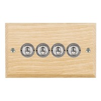 Picture of 4 Gang 20AX 2 Way Toggle / Satin Chrome / Woods Light Oak Chamfered Edge with White Surround Inserts