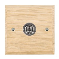 Picture of 1 Gang 20AX Intermediate Toggle / Bright Chrome / Woods Light Oak Chamfered Edge with White Surround Inserts