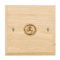 Picture of 1 Gang 20AX Intermediate Toggle / Polished Brass / Woods Light Oak Chamfered Edge with White Surround Inserts