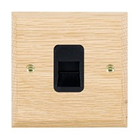 Picture of 1 Gang Telephone Master / Black Plastic / Woods Light Oak Chamfered Edge with Black Surround Inserts
