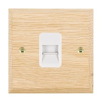 Picture of 1 Gang Telephone Master / White Plastics / Woods Light Oak Chamfered Edge with White Surround Inserts