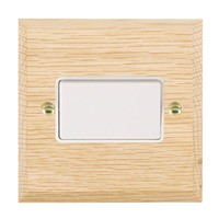 Picture of 1 Gang 10A Triple Pole Rocker  / White Plastic / Woods Light Oak Chamfered Edge with White Surround Inserts