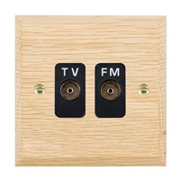 Picture of Isolated TV/FM Diplexer 1 In/ 2 Out / Black Plastic / Woods Light Oak Chamfered Edge with Black Surround Inserts