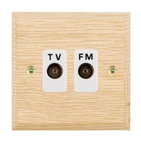 Picture of Isolated TV/FM Diplexer 1 In/ 2 Out / White Plastics / Woods Light Oak Chamfered Edge with White Surround Inserts