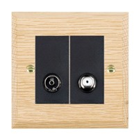 Picture of 2 Gang Non Isolated TV + Satellite 2 In/ 2 Out / Black Plastic / Woods Light Oak Chamfered Edge with Black Surround Inserts