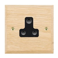 Picture of 1 Gang 5A Unswitched Socket / Black Plastic / Woods Light Oak Chamfered Edge with Black Surround Inserts