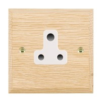 Picture of 1 Gang 5A Unswicthed Socket / White Plastics / Woods Light Oak Chamfered Edge with White Surround Inserts