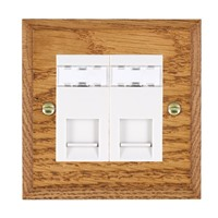 Picture of 2 Gang RJ45 CAT SE Outlet Unshielded / White Plastic / Woods Medium Oak Chamfered Edge with White Surround Inserts