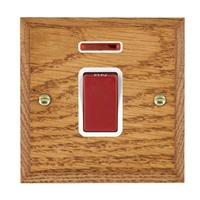 Picture of 1 Gang 45A Double Pole Red Rocker + Neon / Red Plastic / Woods Medium Oak Chamfered Edge with White Surround Inserts