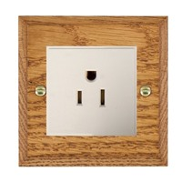 Picture of 1 Gang 15A American Unswitched Socket / White Plastic / Woods Medium Oak Chamfered Edge with White Surround Inserts