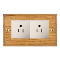 Picture of 2 Gang 15A American Unswitched Socket / White Plastic / Woods Medium Oak Chamfered Edge with White Surround Inserts