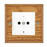 Picture of 1 Gang 16A German Unswitched Socket / White Plastic / Woods Medium Oak Chamfered Edge with White Surround Inserts