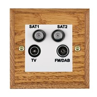 Picture of Non Isolated TV/FM/ Satellite 1/ Satellite 2 Quadplexer 2 In/ 4 Out / White Plastic / Woods Medium Oak Chamfered Edge with White Surround Inserts