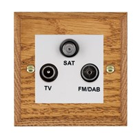 Picture of Non Isolated TV/FM/Satellite Triplexer 1 In/3 Out / White Plastic / Woods Medium Oak Chamfered Edge with White Surround Inserts