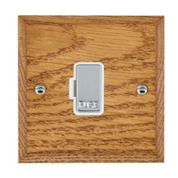 Picture of 1 Gang 13A Fuse Only / Bright Chrome / Woods Medium Oak Chamfered Edge with White Surround Inserts