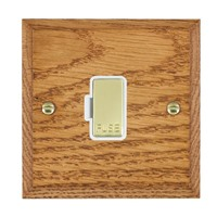 Picture of 1 Gang 13A Fuse Only / Polished Brass / Woods Medium Oak Chamfered Edge with White Surround Inserts