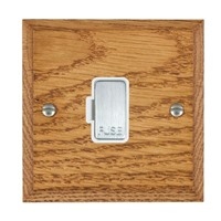 Picture of 1 Gang 13A Fuse Only / Satin Chrome / Woods Medium Oak Chamfered Edge with White Surround Inserts