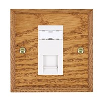 Picture of 1 Gang RJ45 CAT SE Outlet Unshielded / White Plastic / Woods Medium Oak Chamfered Edge with White Surround Inserts