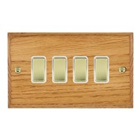 Picture of 4 Gang 10AX 2 Way Rocker / Polished Brass / Woods Medium Oak Chamfered Edge with White Surround Inserts