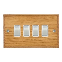 Picture of 4 Gang 10AX 2 Way Rocker / Satin Chrome / Woods Medium Oak Chamfered Edge with White Surround Inserts