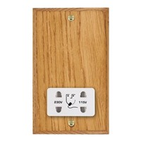 Picture of Shaver Dual Voltage Unswitched Socket / White Plastic / Woods Medium Oak Chamfered Edge with White Surround Inserts
