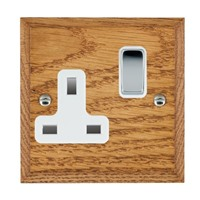 Picture of 1 Gang 13A Double Pole Switched Socket / Bright Chrome / Woods Medium Oak Chamfered Edge with White Surround Inserts