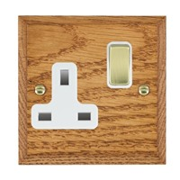 Picture of 1 Gang 13A Double Pole Switched Socket / Polished Brass / Woods Medium Oak Chamfered Edge with White Surround Inserts
